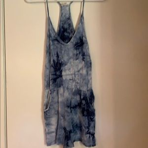 Blue and white tie dye romper size small